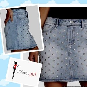 Denim Blue Skirt SKINNY-GIRL JEANS Studded  NWT